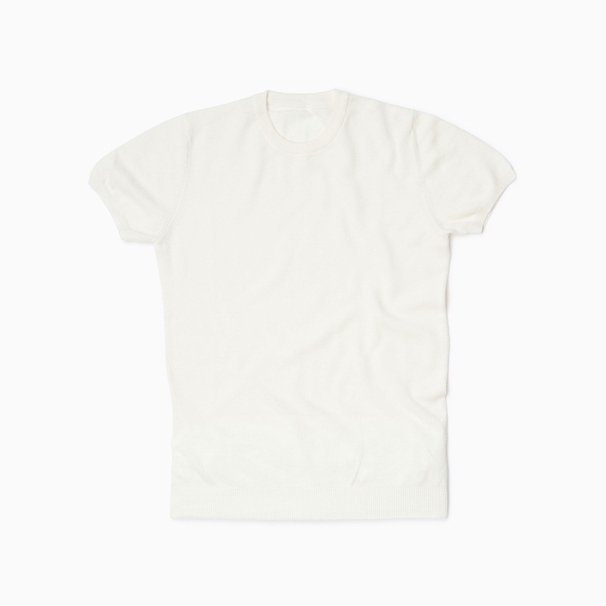Off White Cotton Honeycomb T Shirt