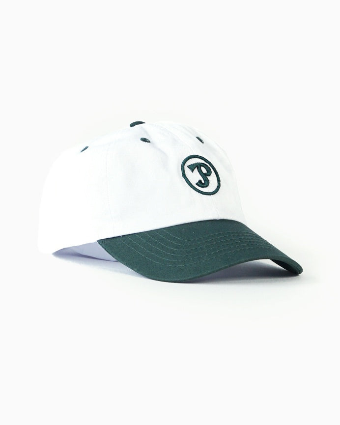 White & Green Dad Cap with Sporting Logo