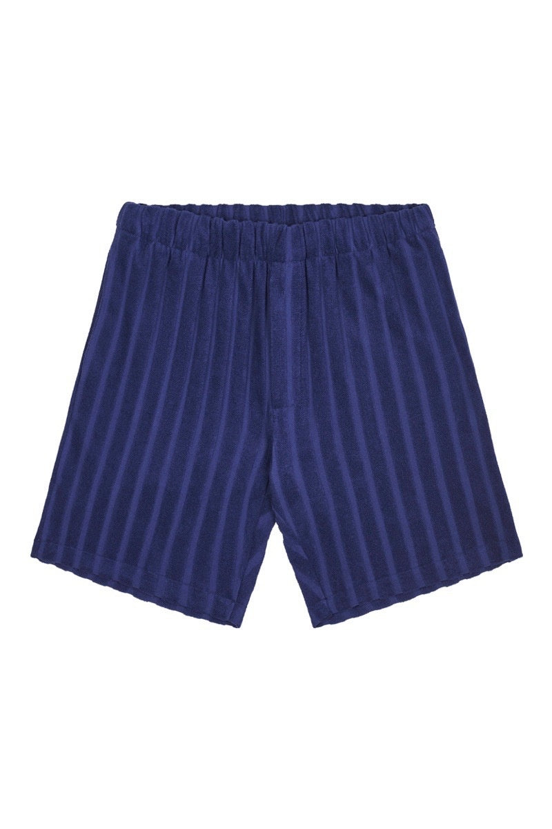 Blue Jacquard Stripe Terry Towelling Shorts