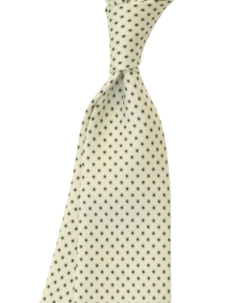 White w Teal Black Fish Eye Tie