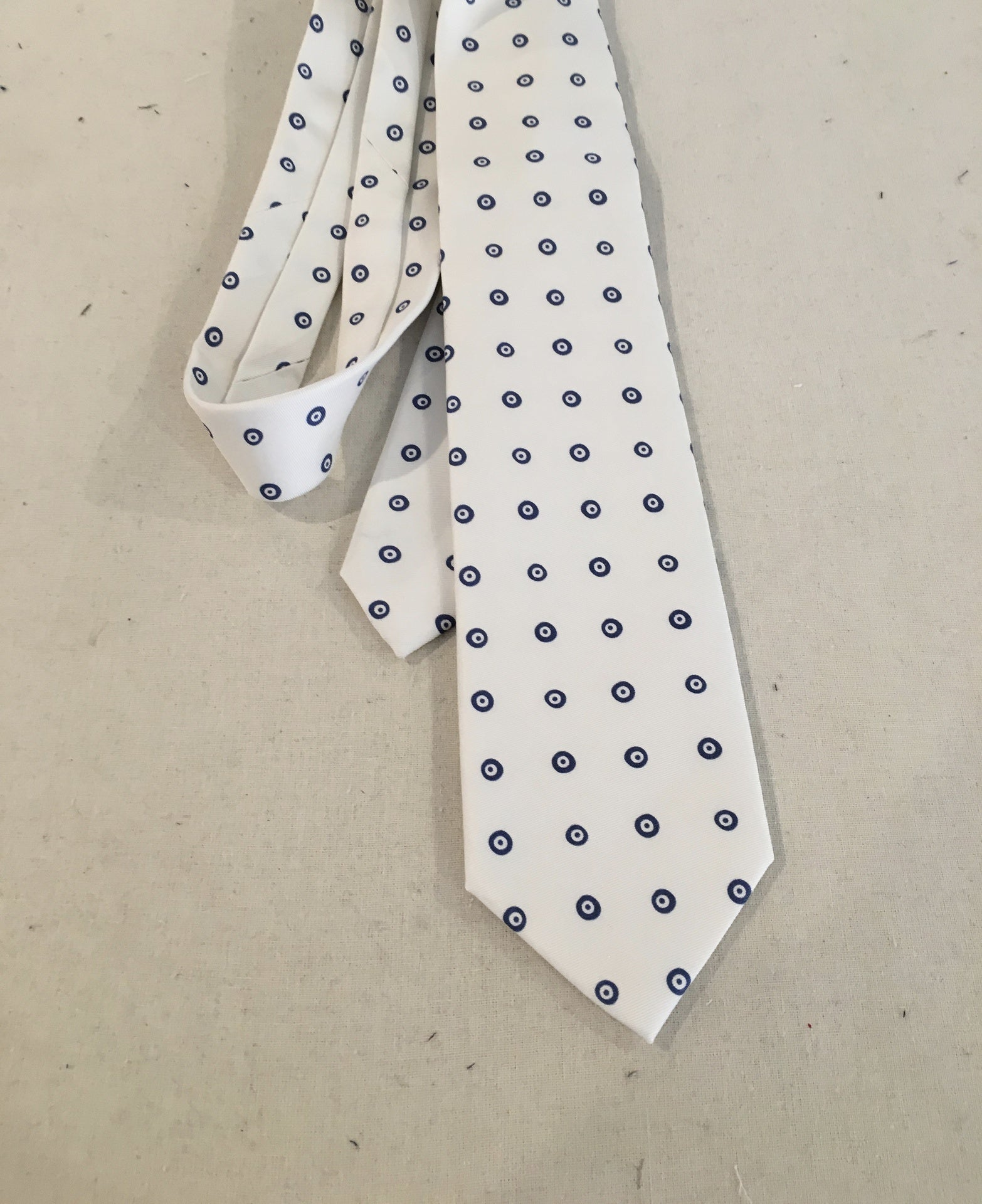 White w Grey Black Fish Eye Tie