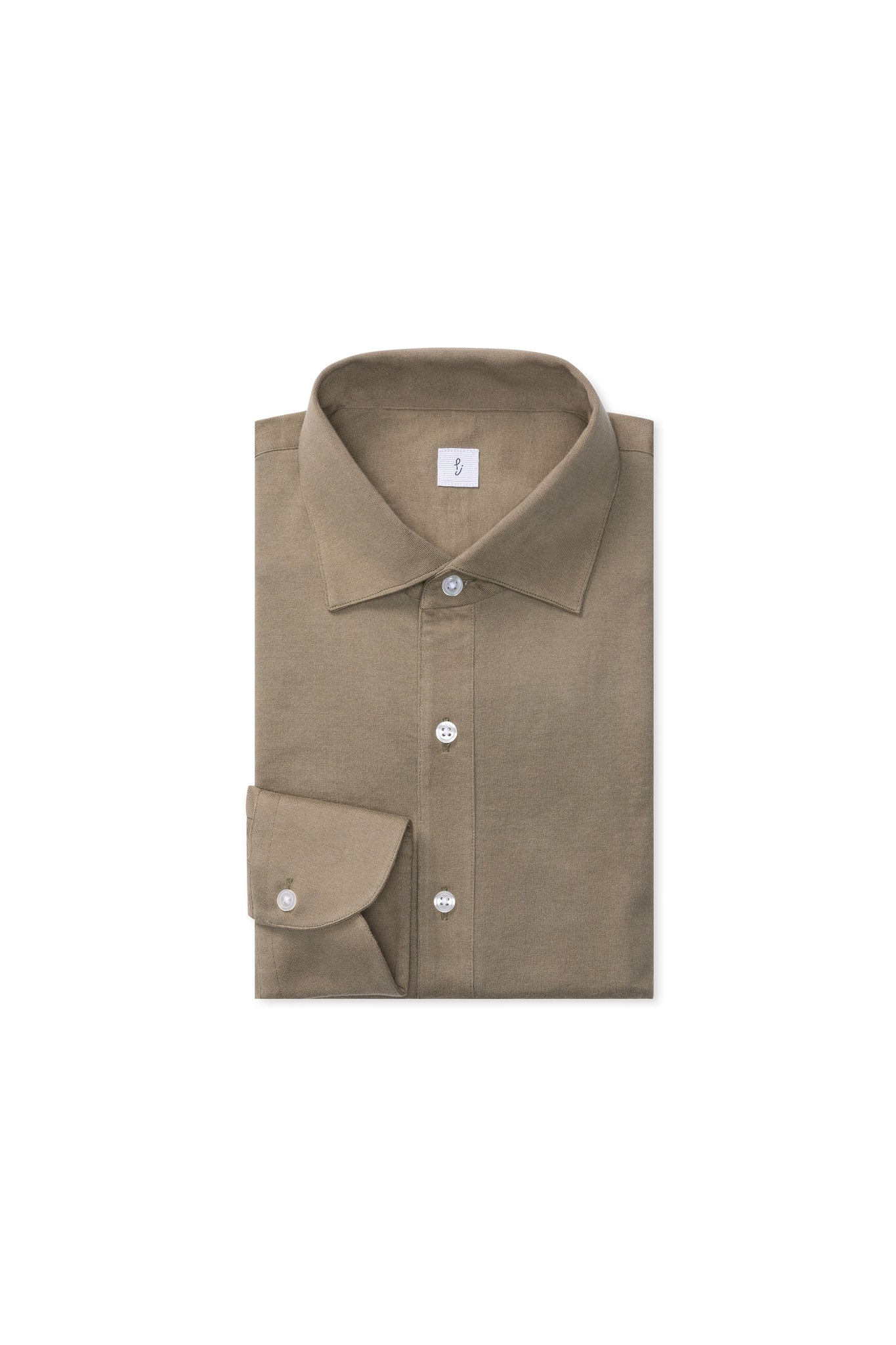 Khaki Cotton Jersey Polo Shirt