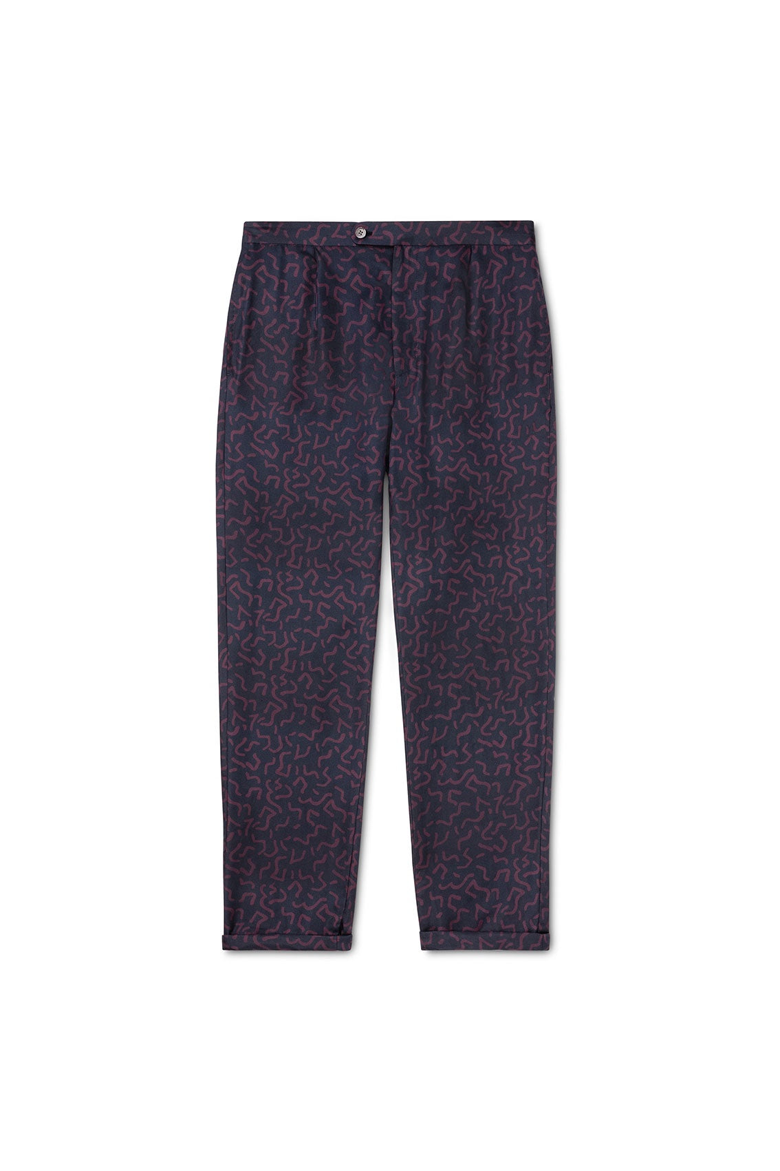P Johnson Squiggle Print Silk Drawstring Trousers