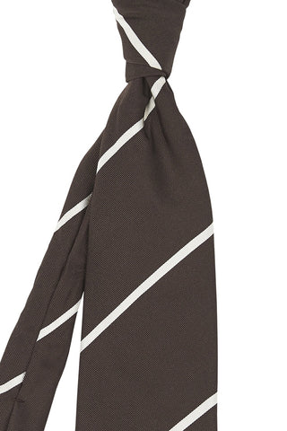 Wide Brown and Thin Cream Stripe Tie