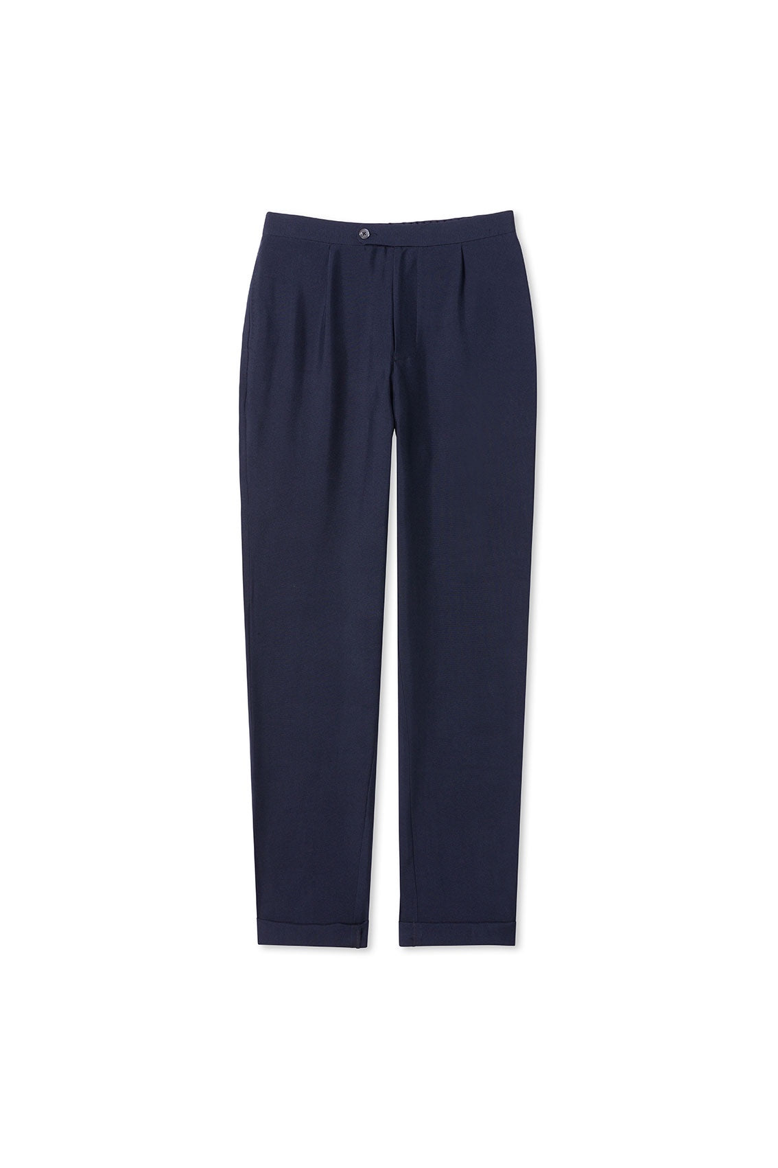 Navy Silk Drawstring Trousers