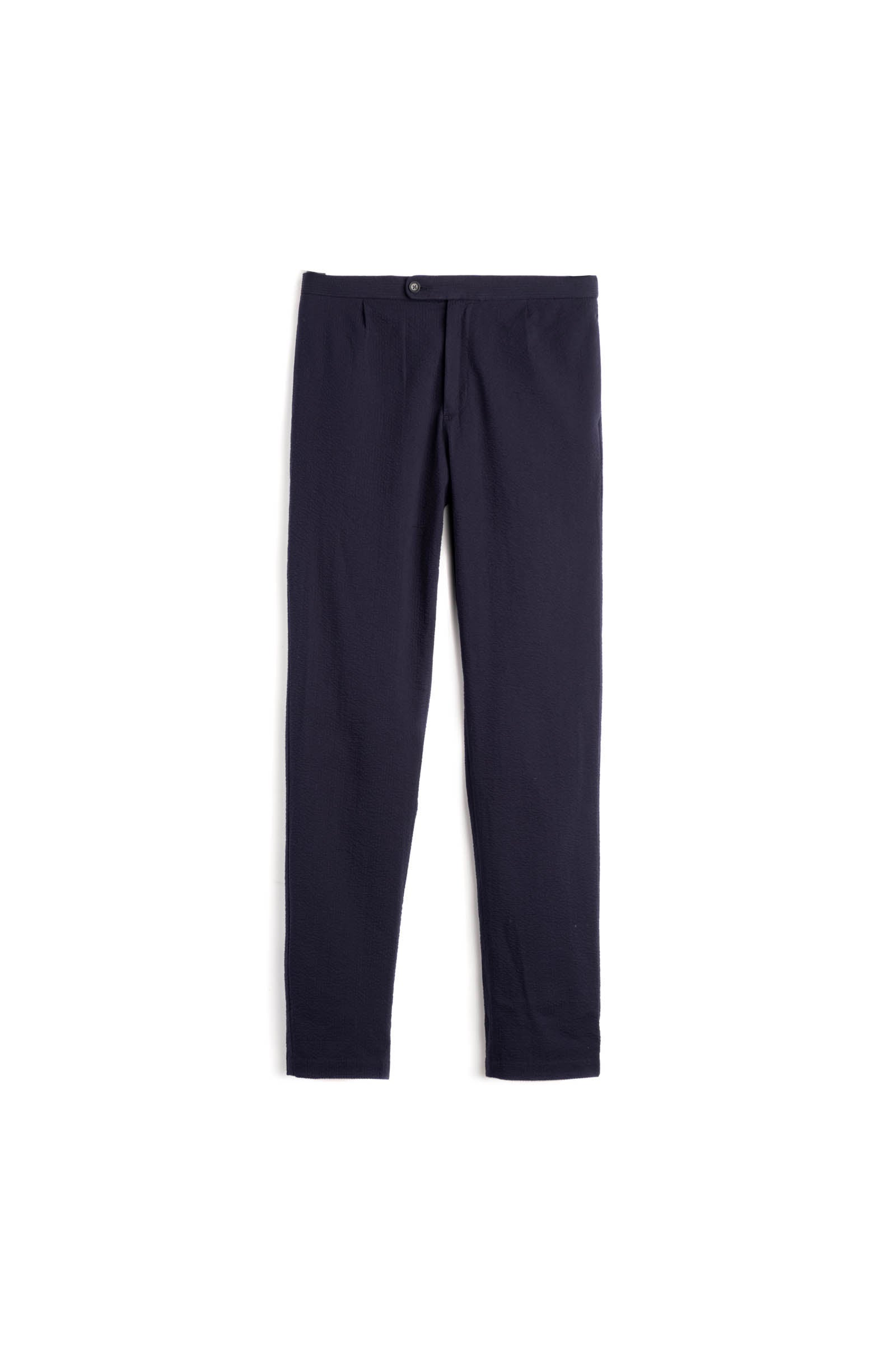 Navy Seersucker Drawstring Trousers