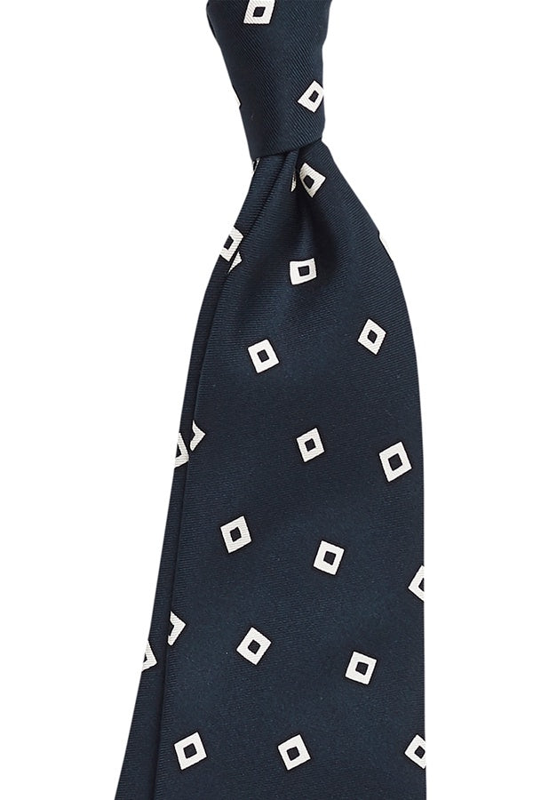 Cream Squares on Navy Base Tie