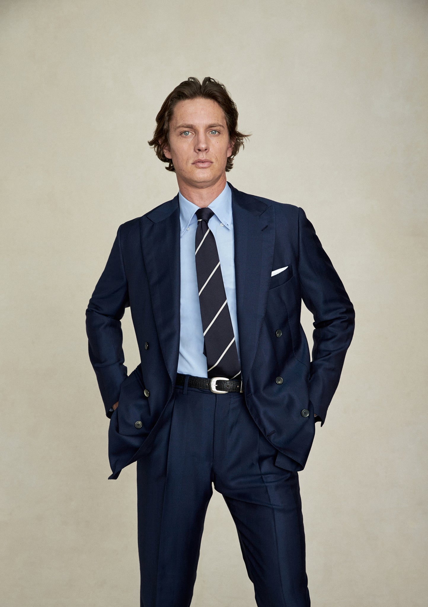 Blue Cashmere Wool Herringbone Suit