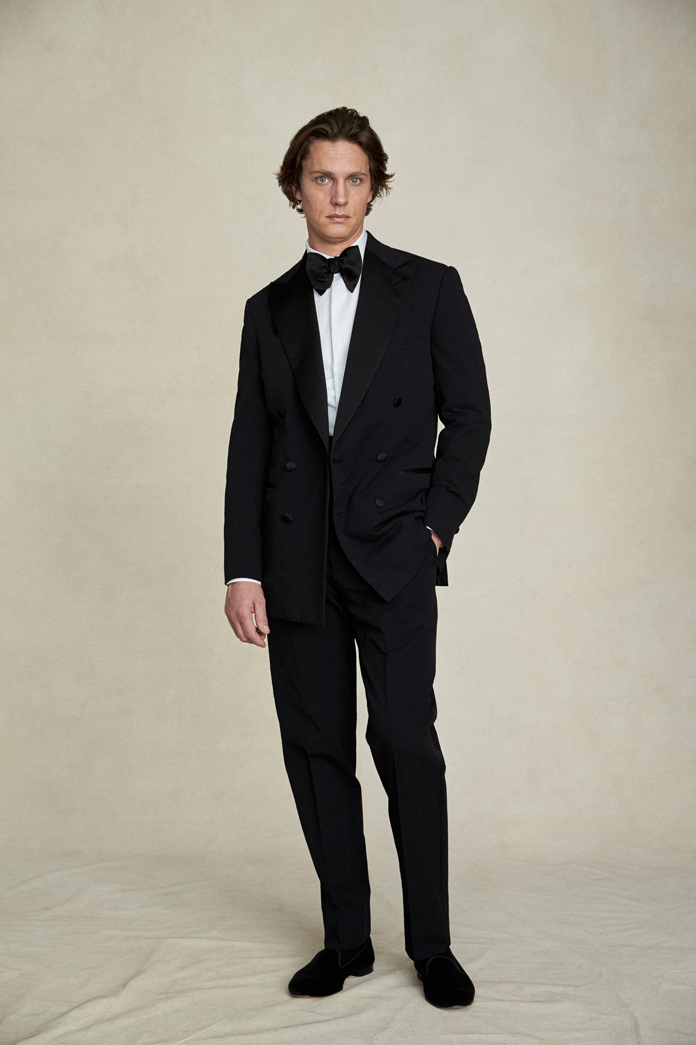Black Cotton Seersucker Tuxedo