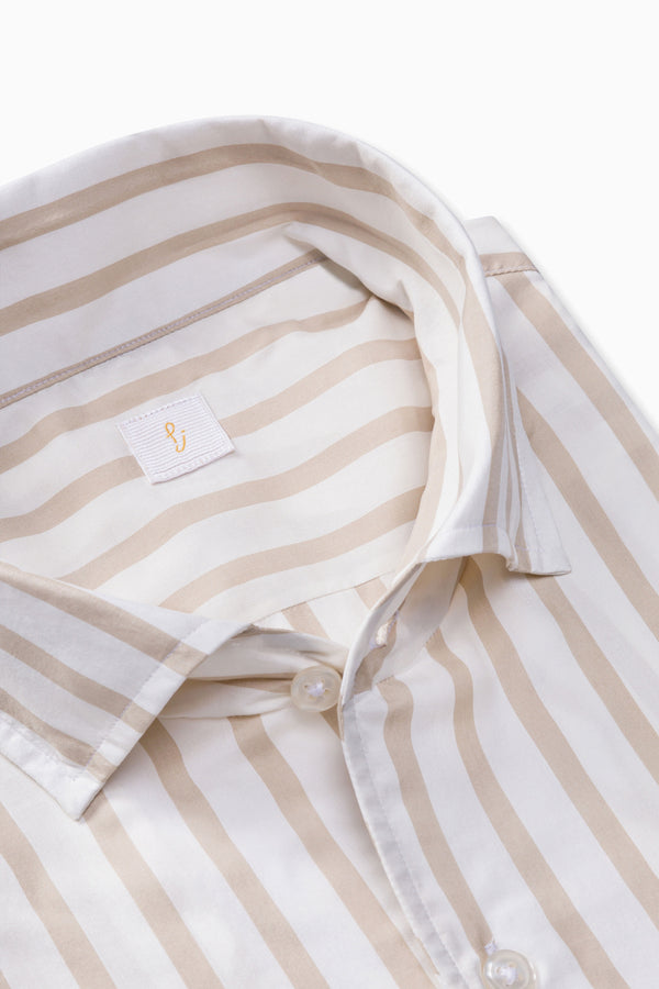 Beige and White Striped Silk Shirt