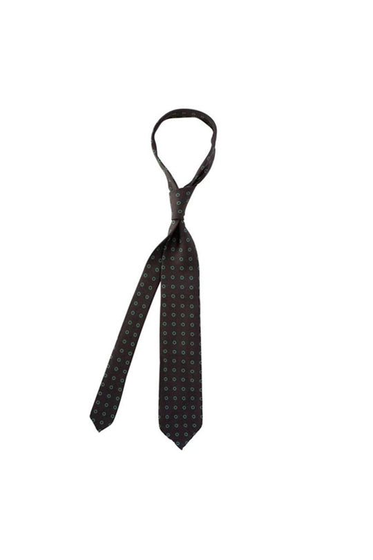 Black with Green Wheel Motif Tie