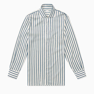 P Johnson Blue and White Striped Silk Shirt