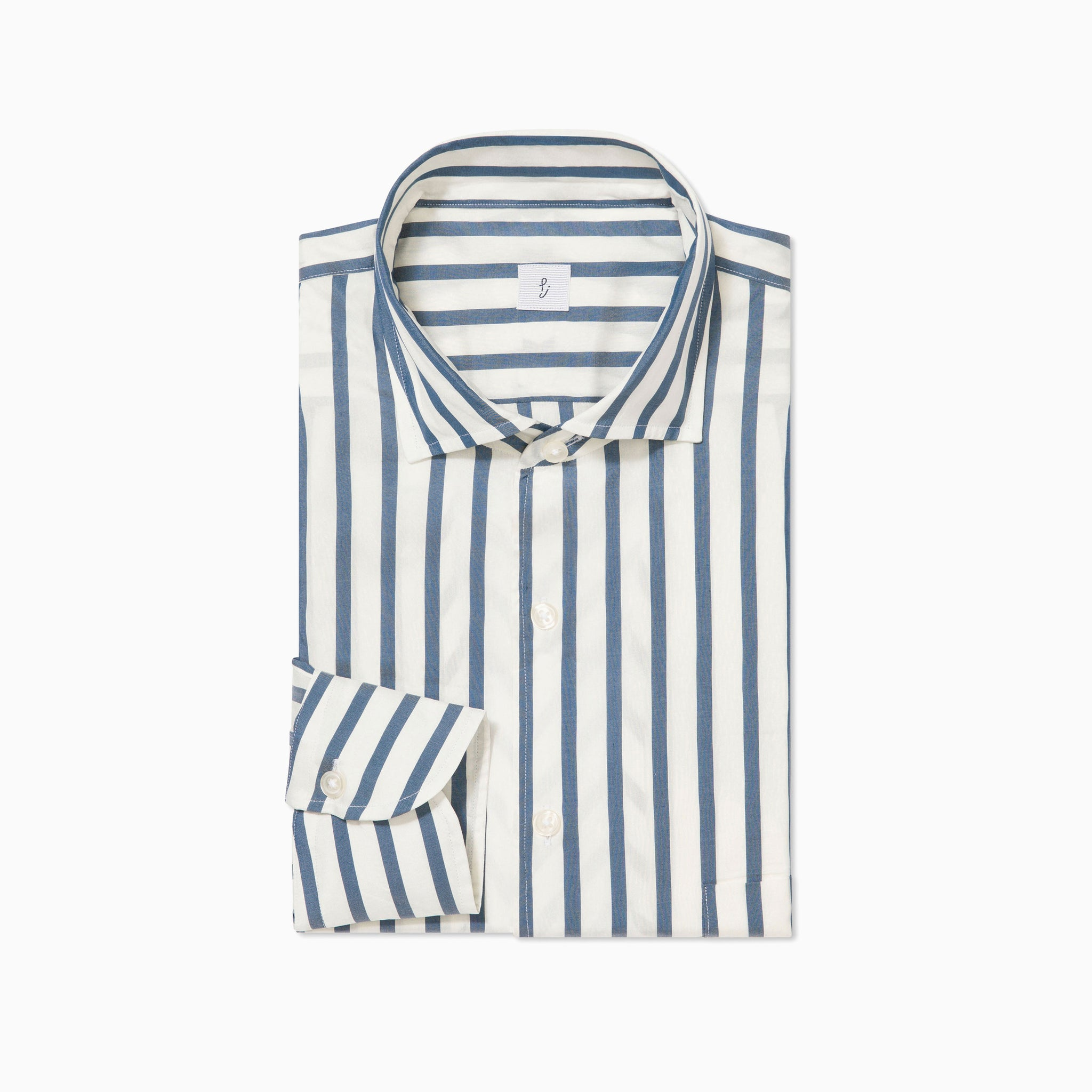 Blue and White Striped Silk Shirt