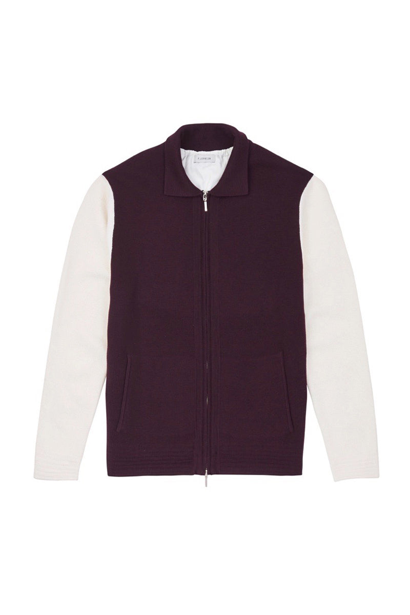 Burgundy and Off White Knitted Varsity Jacket