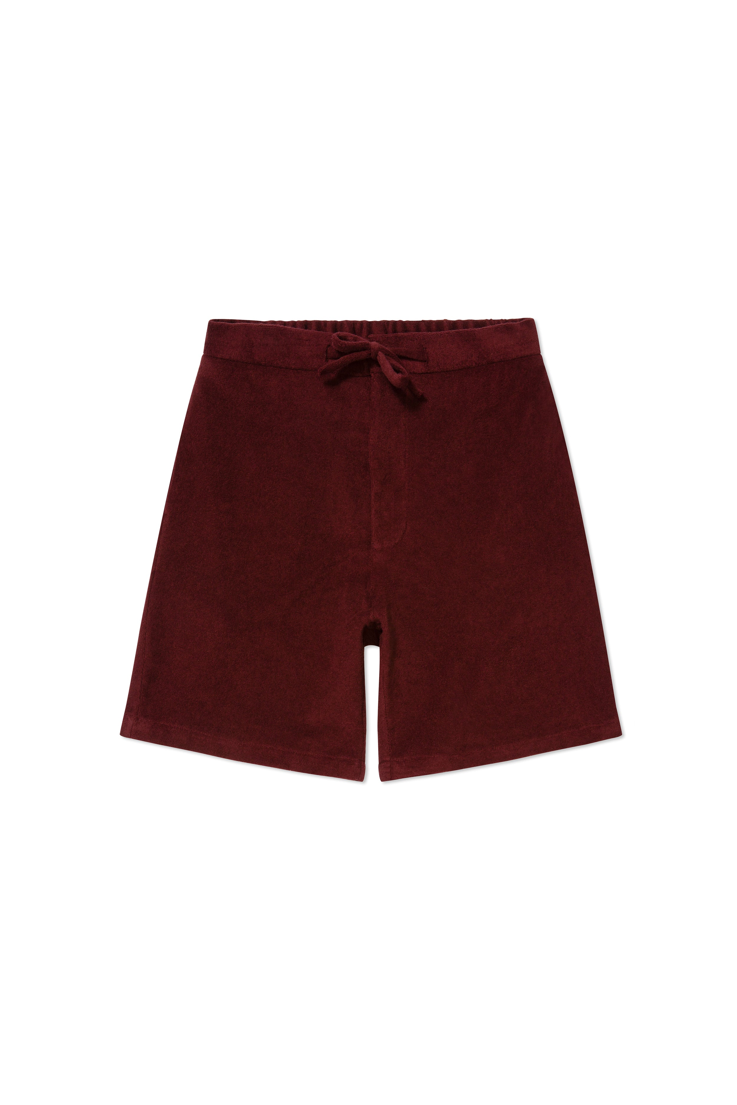 Burgundy Terry Towel Drawstring Shorts