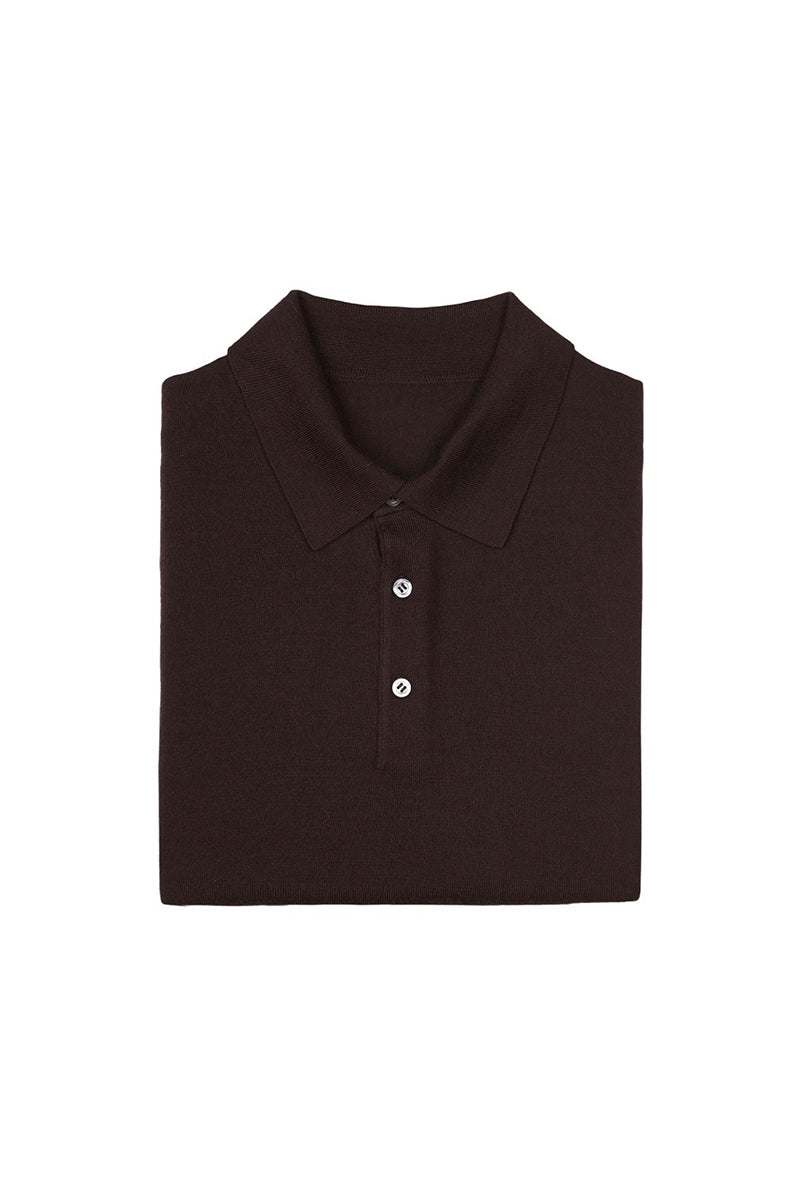 Dark Brown S160 Merino Wool Polo