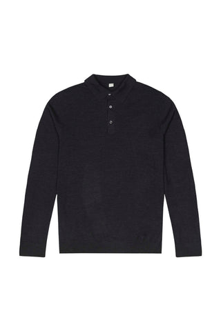 Dark Grey Merino Wool Polo
