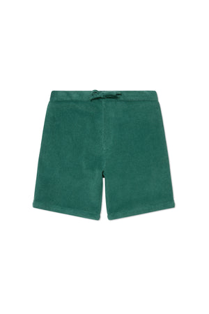 Green Terry Towel Drawstring Shorts