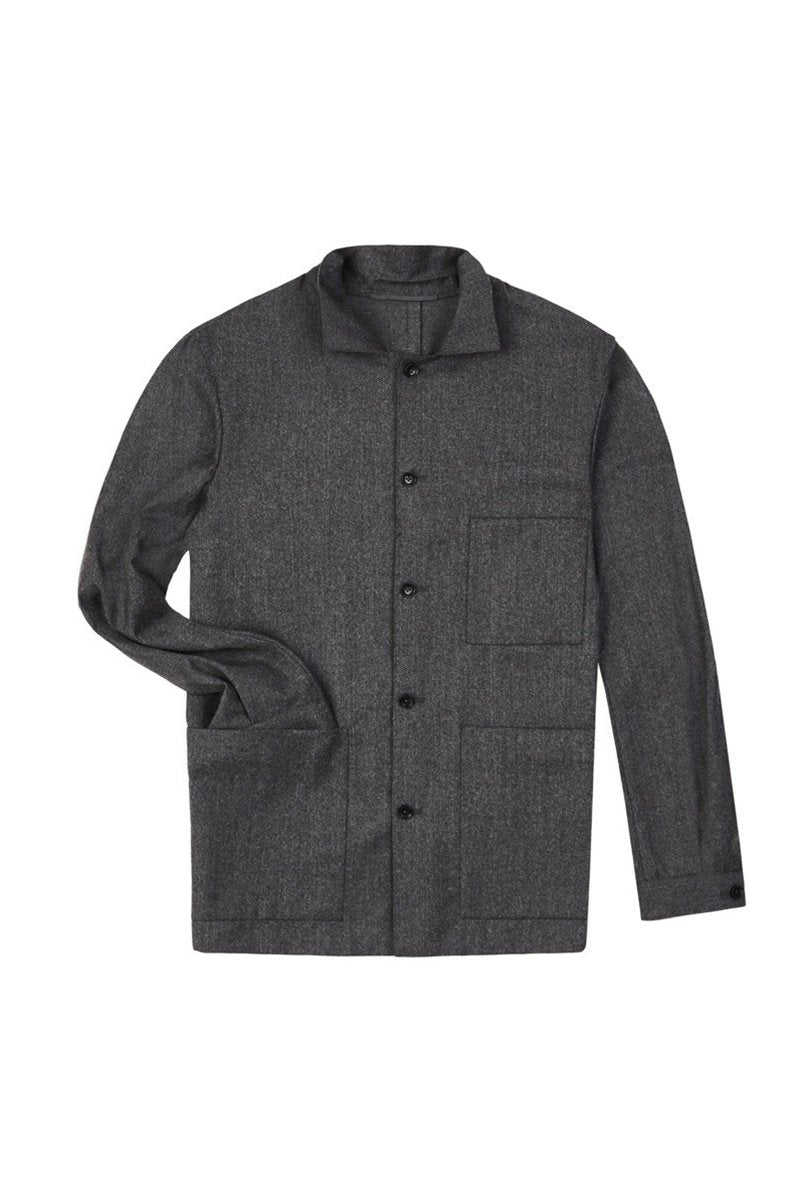 Grey Merino Cashmere Shirt Jacket