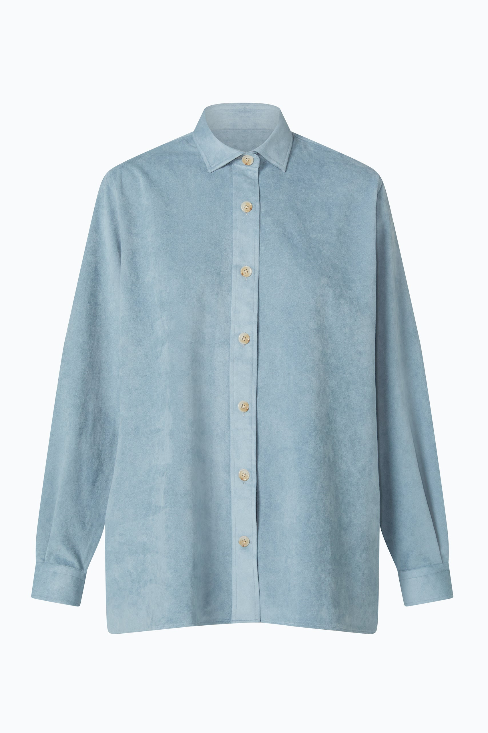 "Mid Blue ""Vegan Suede"" Over Shirt"