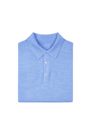 Light Blue S160 Merino Wool Polo