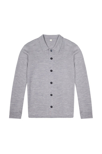Light Grey Merino Wool Single Breasted Cardigan