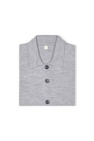Light Grey S160 Merino Wool Single Breasted Cardigan
