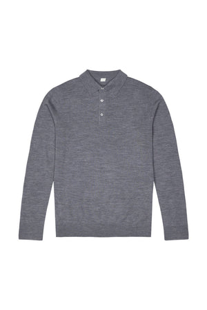 Mid Grey S160 Merino Wool Polo