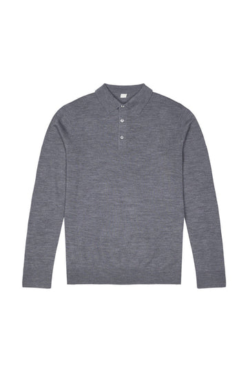 Mid Grey Merino Wool Polo