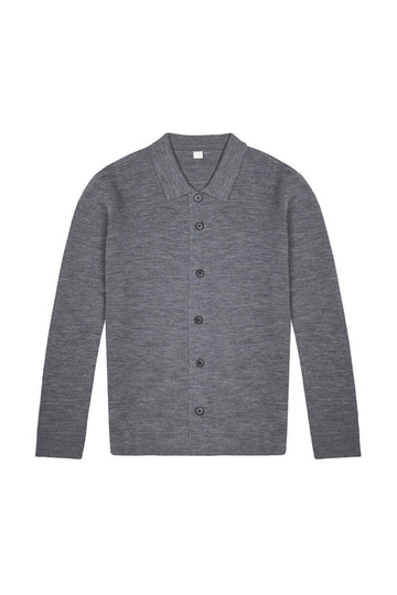 Mid Grey Merino Wool Single Breasted Cardigan