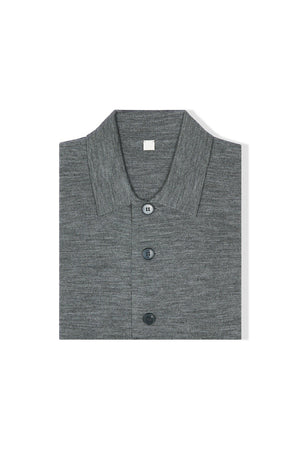 Mid Grey S160 Merino Wool Single Breasted Cardigan