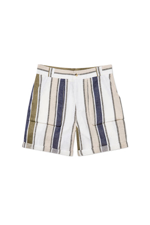 Multi Stripe Linen Walking Shorts