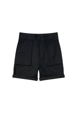 Navy Cotton Linen Walking Shorts