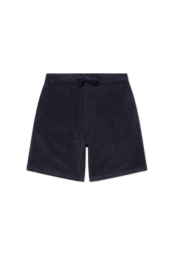 Navy Terry Towel Drawstring Shorts