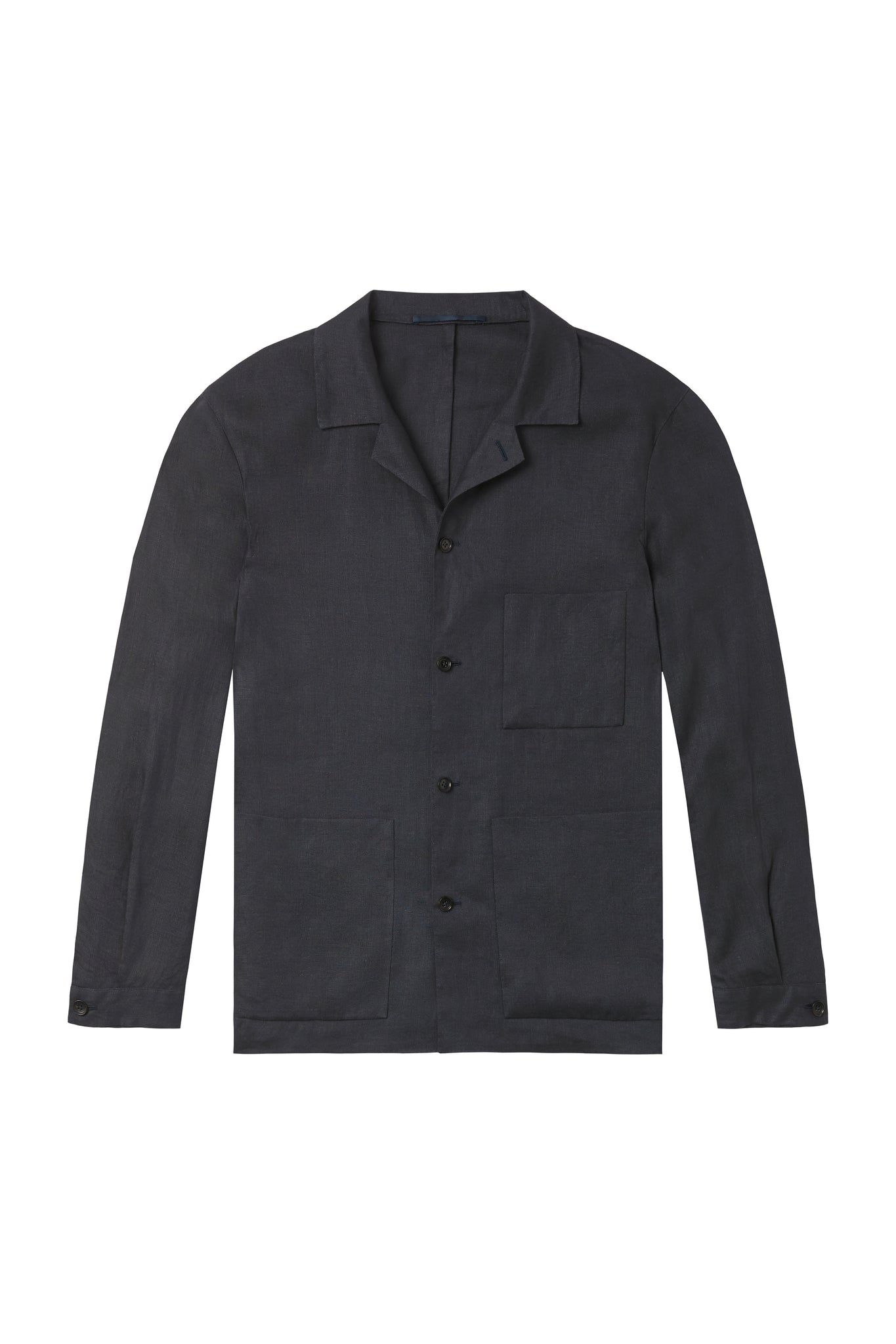 Navy Linen Shirt Jacket