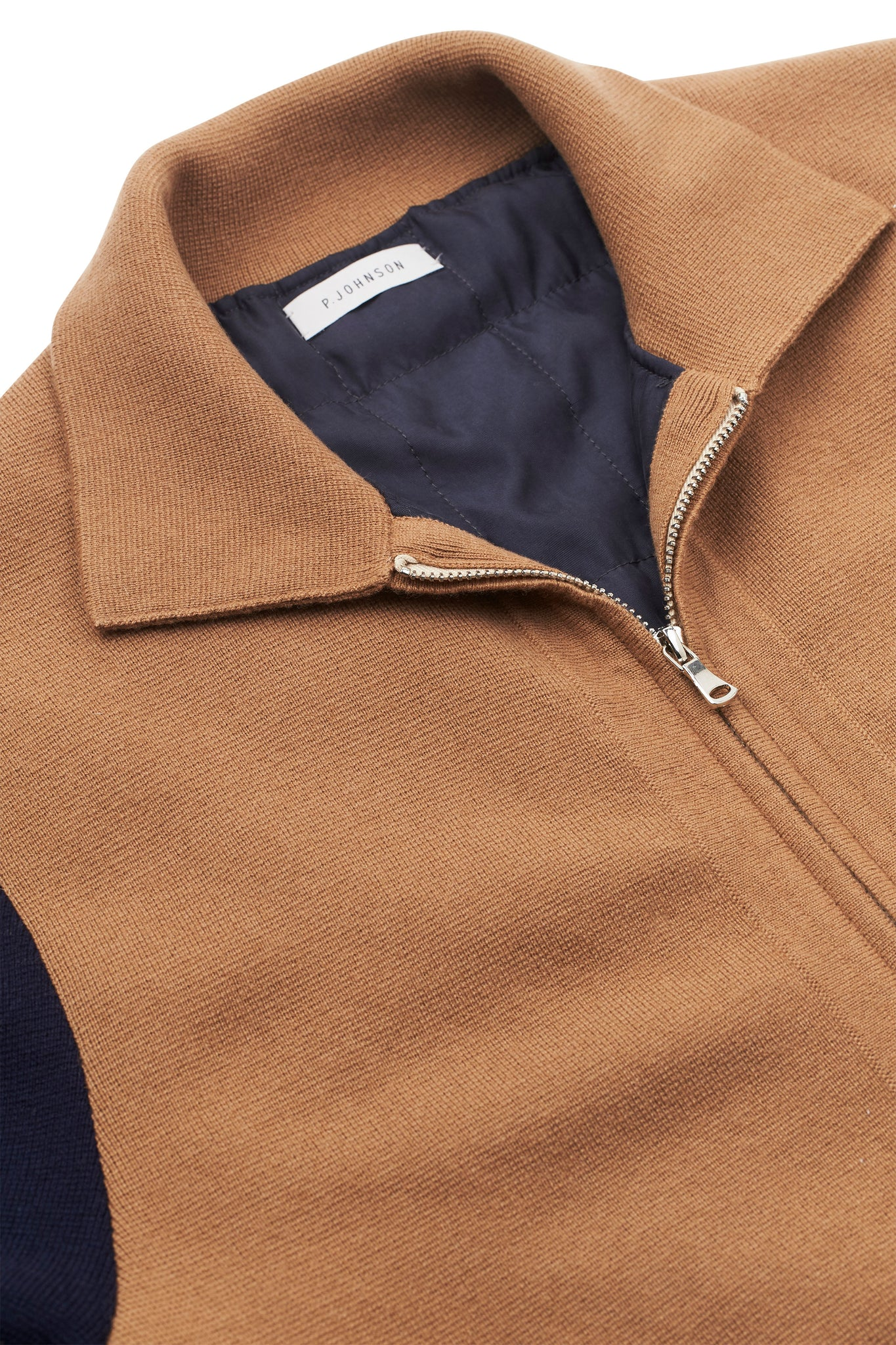Caramel and Navy Knitted Varsity Jacket