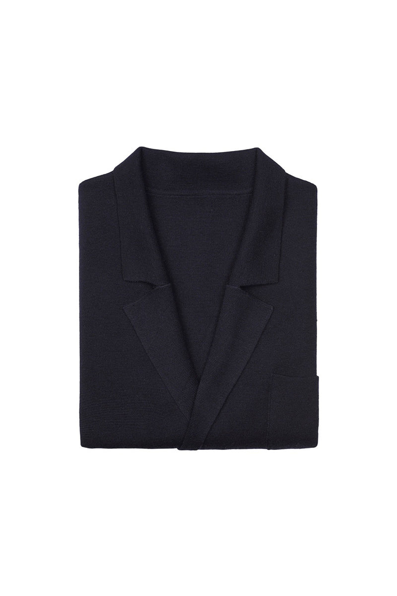 Navy Merino Wool Double Breasted Cardigan