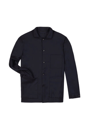 Navy Merino Cashmere Shirt Jacket