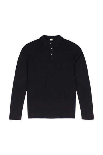 Navy Merino Wool Polo