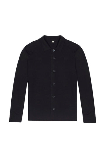 Navy Merino Wool Single Breasted Cardigan