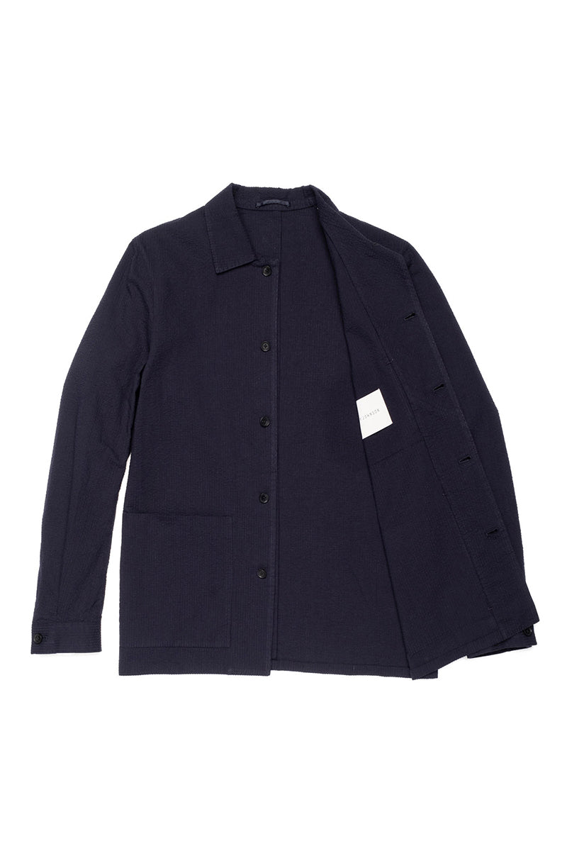 Navy Seersucker Shirt Jacket