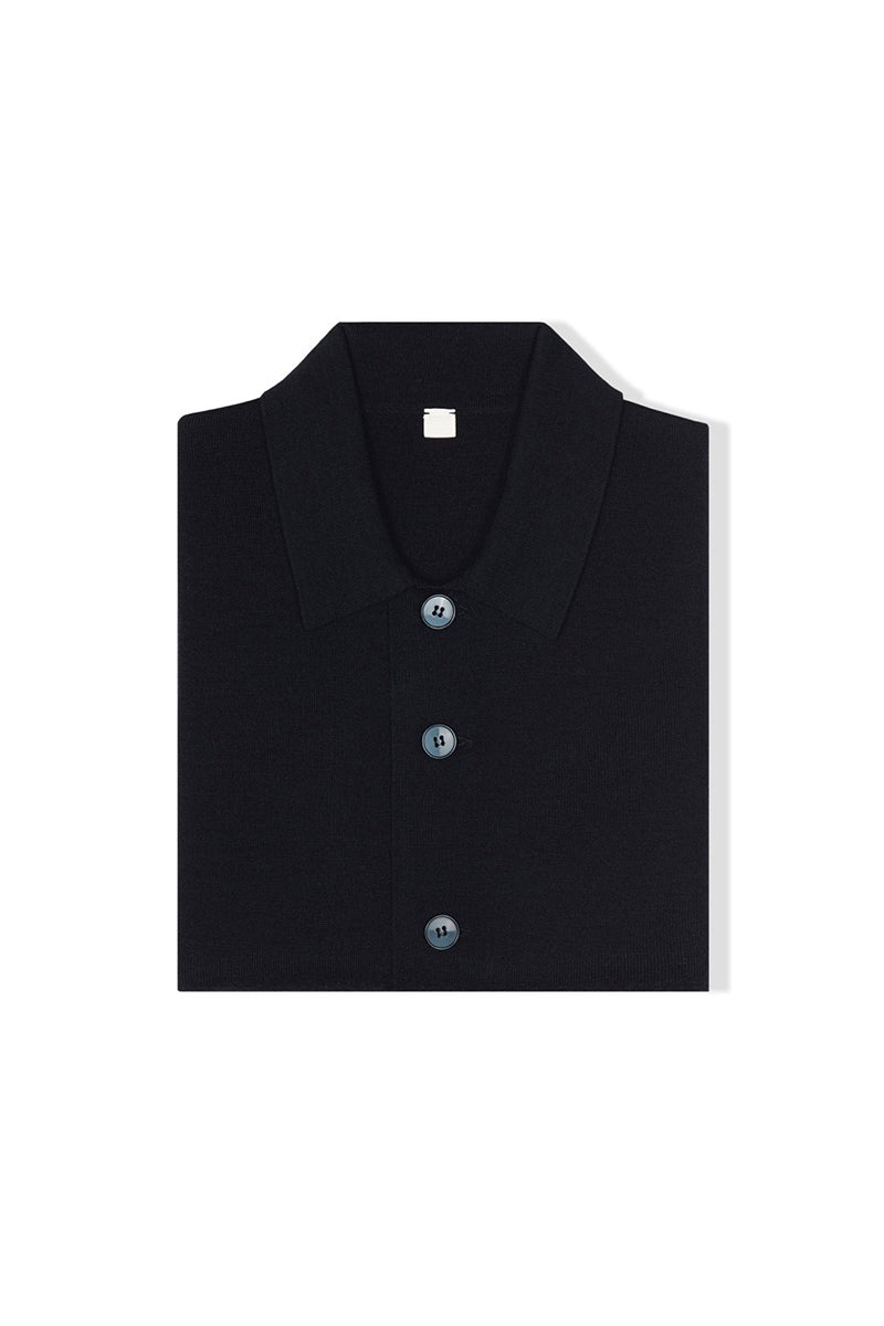 Navy S160 Merino Wool Single Breasted Cardigan