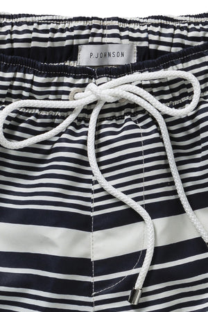 Navy and Off White Barre Stripe Swimmers