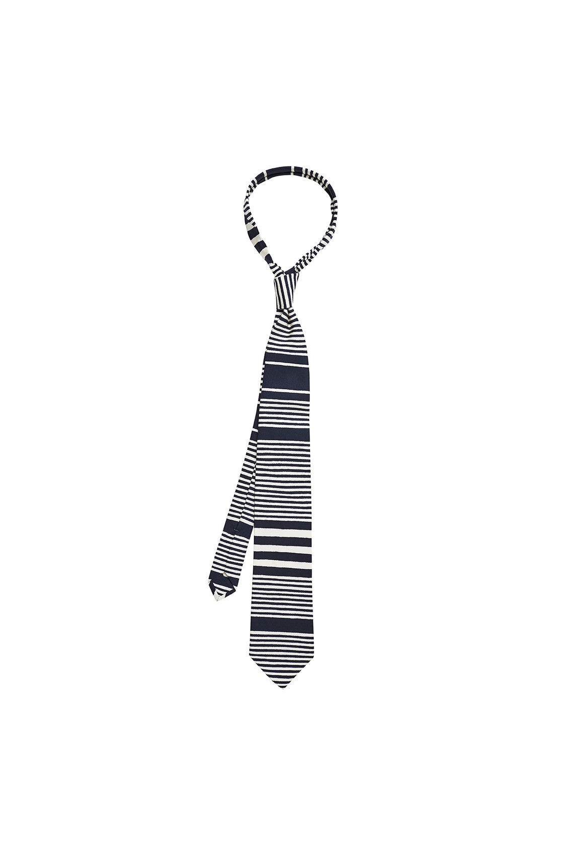 Navy and Off White Irregular Stripe Tie