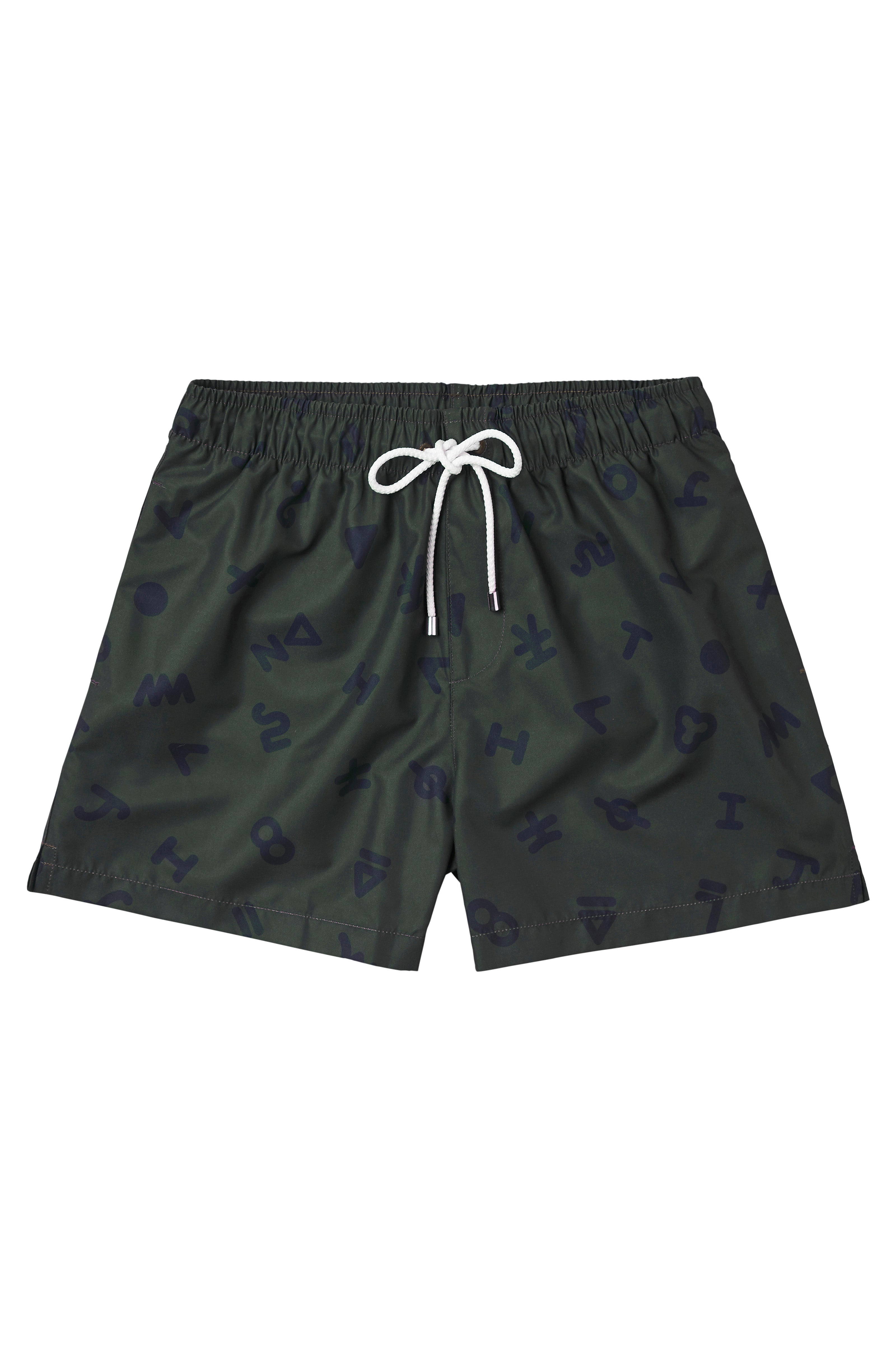 Navy on Forest Green Ari Print Swimmers