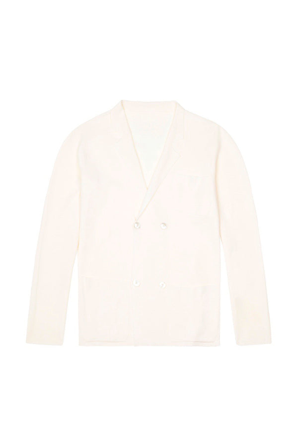 White S160 Merino Wool Double Breasted Cardigan