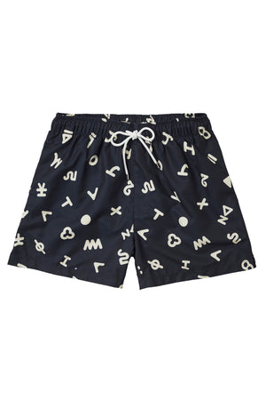 Off White on Navy Ari Print Swimmers
