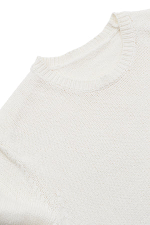 P Johnson Off White Knitted Cotton Pullover detail