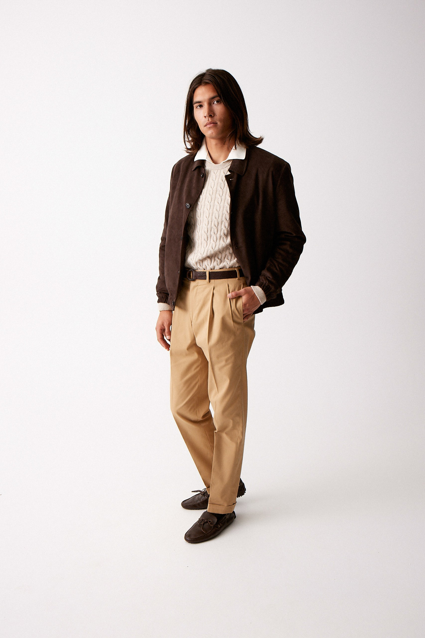 Caramel Fine Gabardine Cotton Trousers w/ Double Pleat