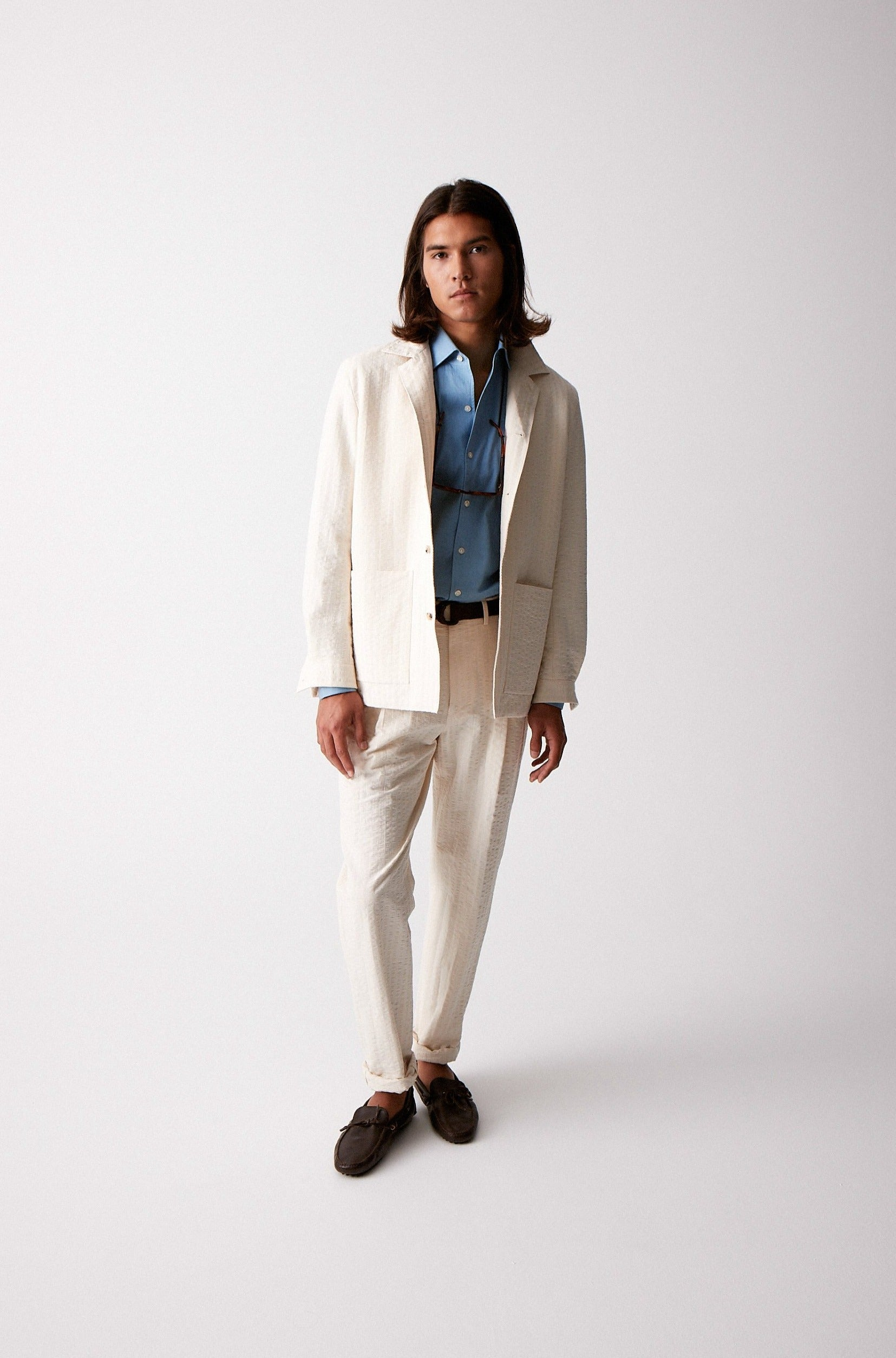 Ecru Seersucker Lined Shirt Jacket